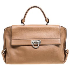 Salvatore Ferragamo Light Brown Leather Sofia Satchel