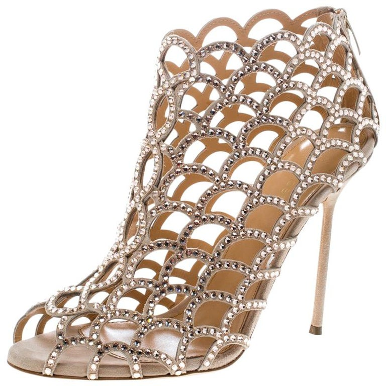 bd3e5421fdf Sergio Rossi Beige Crystal Embellished Scalloped Suede Peep Toe Caged  Booties Si For Sale