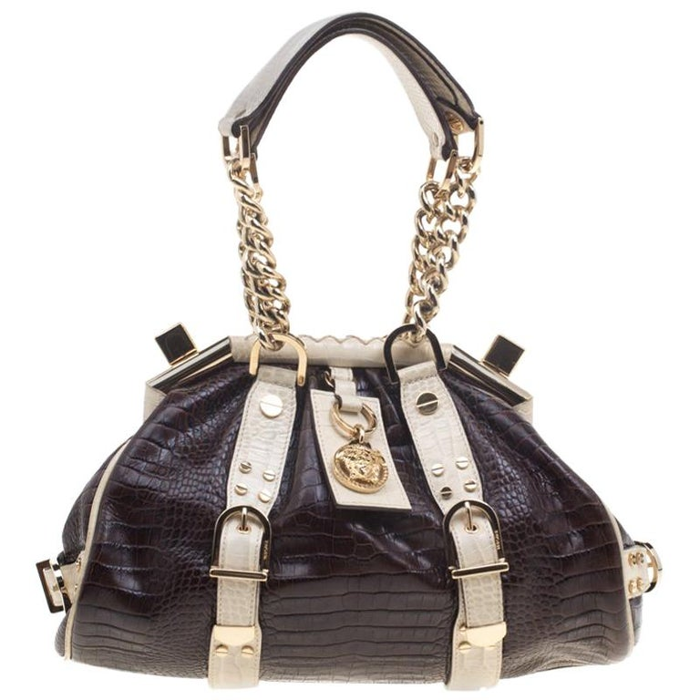 db735a0304 Versace Brown Cream Croc Embossed Leather Madonna Boston Bag For Sale at  1stdibs