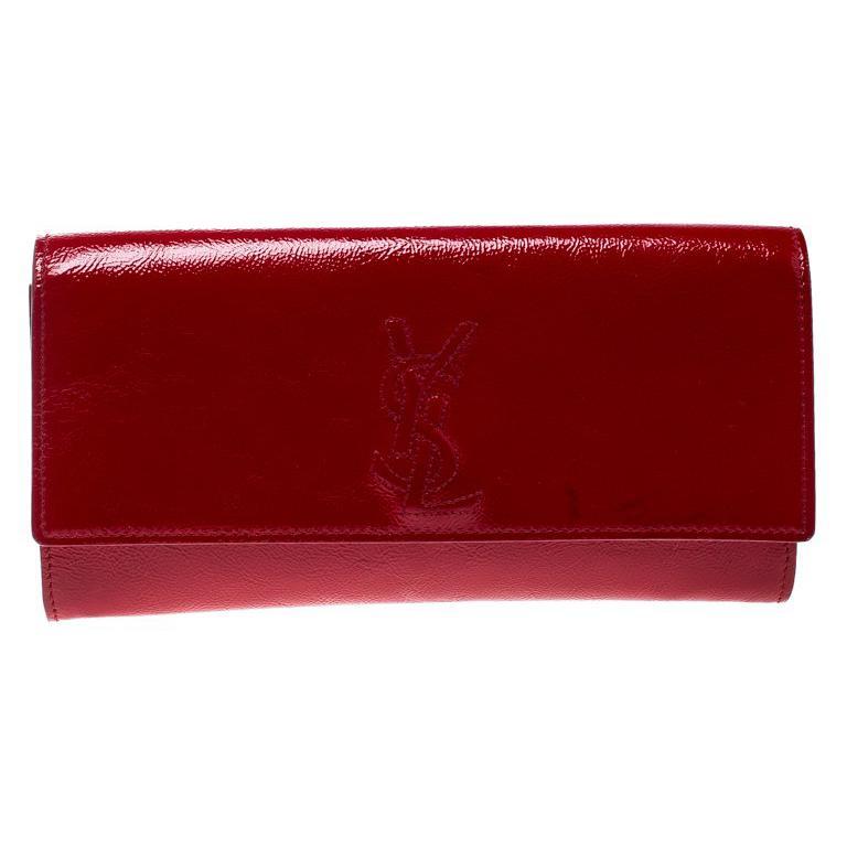 130e8b8291d9 Saint Laurent Red Patent Leather Small Belle De Jour Flap Clutch For Sale  at 1stdibs