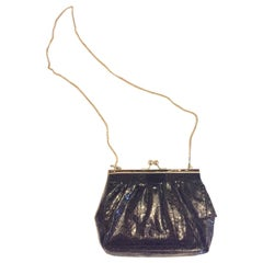 Vintage 1980 Black Snakeskin Cross Body Evening Bag