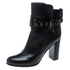 Sergio Rossi Black Leather Eyelet Detail Ankle Boots Size 39