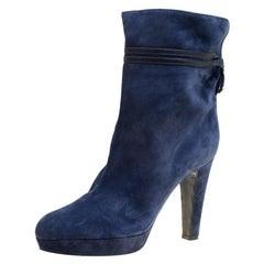 Sergio Rossi Dark Blue Suede Platform Boots Size 41