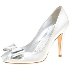 Sergio Rossi Metallic Silver Fabric Bow Detail Peep Toe Pumps Size 37