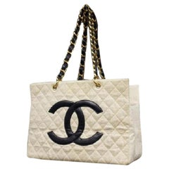 Chanel Shopping ( Ultra Rare ) Quilted Linen Gst Chain 213824 Cotton Blend Tote