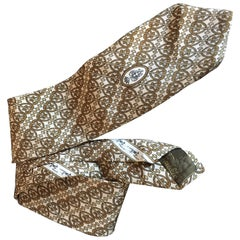 1970's Emilio Pucci Neck Tie In Taupe and Carmel Printed Silk