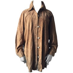 Suede Leather Oversized Shirt/Jacket with Shell Buttons