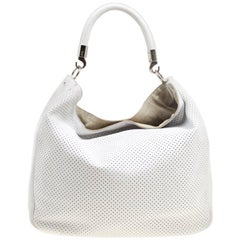Saint Laurent White Perforated Leather Roady Hobo