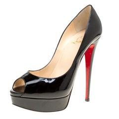 Christian Louboutin Black Patent Leather Lady Peep Toe Platform Pumps Size 39