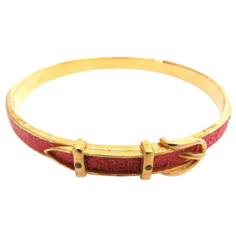 0f31dd7a6e37 Hermès Red Kelly Belt Motif 215909 Bracelet For Sale at 1stdibs