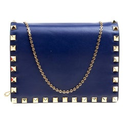 Valentino Blue Leather Rockstud Chain Shoulder Bag