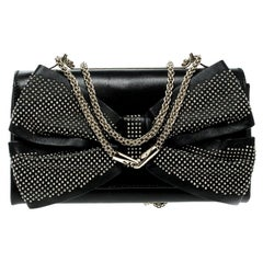Valentino Black Leather Studded Bow Crossbody Bag