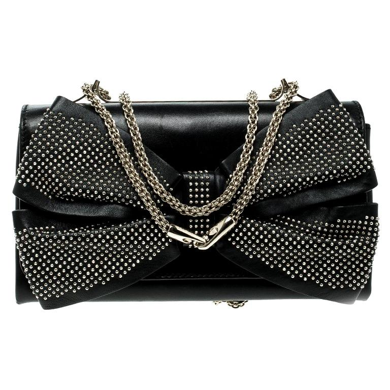 Valentino Black Leather Studded Bow Crossbody Bag For Sale
