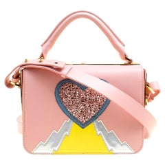 Sophie Hulme Pink Leather Finsbury Applique Detail Top Handle Shoulder Bag