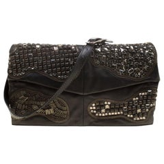 Valentino Black Leather Embellished Flat Shoulder Bag