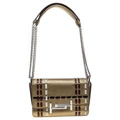 Tod's Gold Leather Mini Double T Crossbody Bag