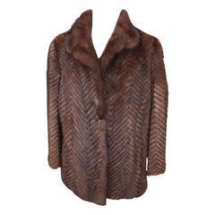 Brown Chevron Quilted Mink 212066 Coat
