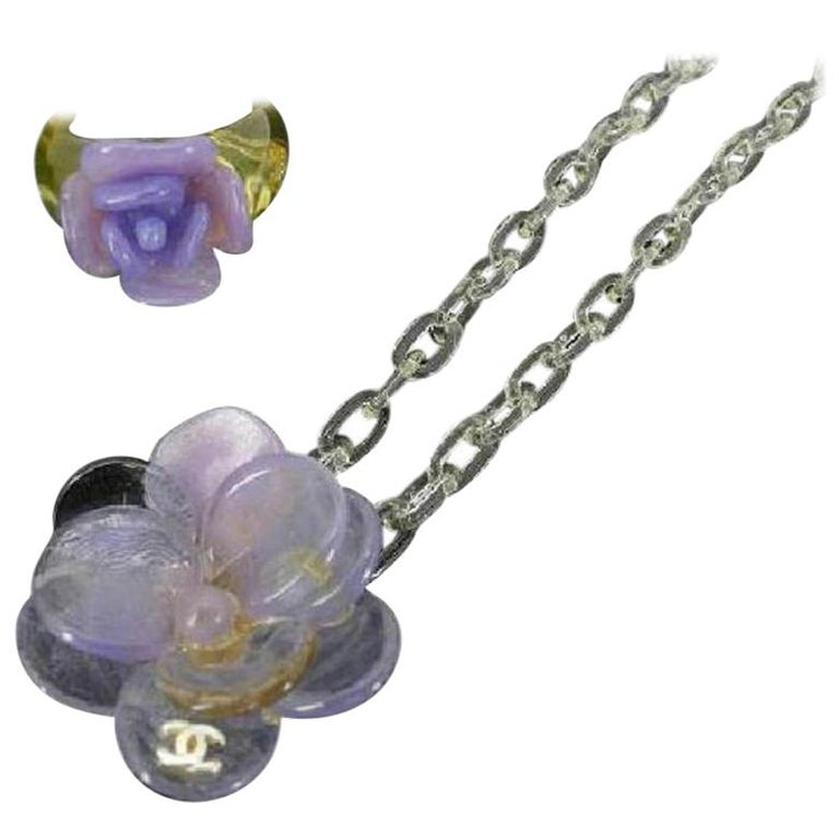 31eae6fb84 Chanel Purple Cc Camellia Ring Set 214293 Necklace at 1stdibs
