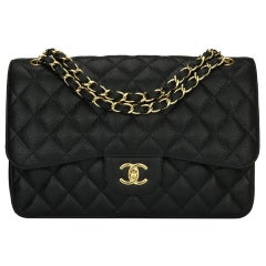CHANEL Classic Jumbo Double Flap Bag Black Caviar with Gold Hardware 2014