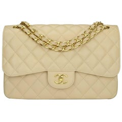 CHANEL Classic Jumbo Double Flap Bag Beige Clair Caviar with Gold Hardware  2015 8c0ed2be455
