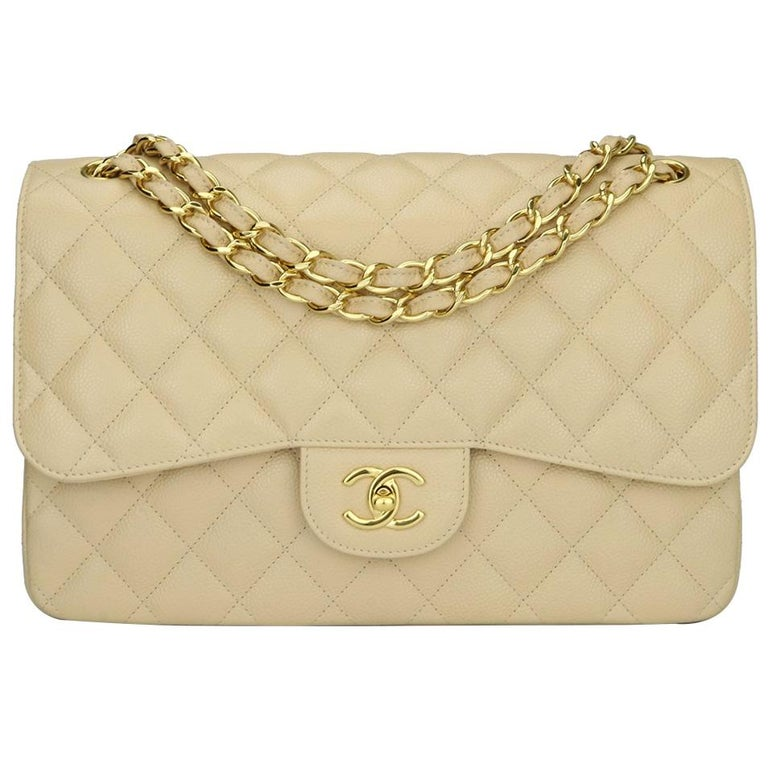 1e8570e209ab CHANEL Classic Jumbo Double Flap Bag Beige Clair Caviar with Gold Hardware  2015 For Sale