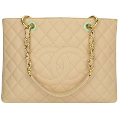 CHANEL Grand Shopping Tote (GST) Beige Clair Caviar with Gold Hardware 2013
