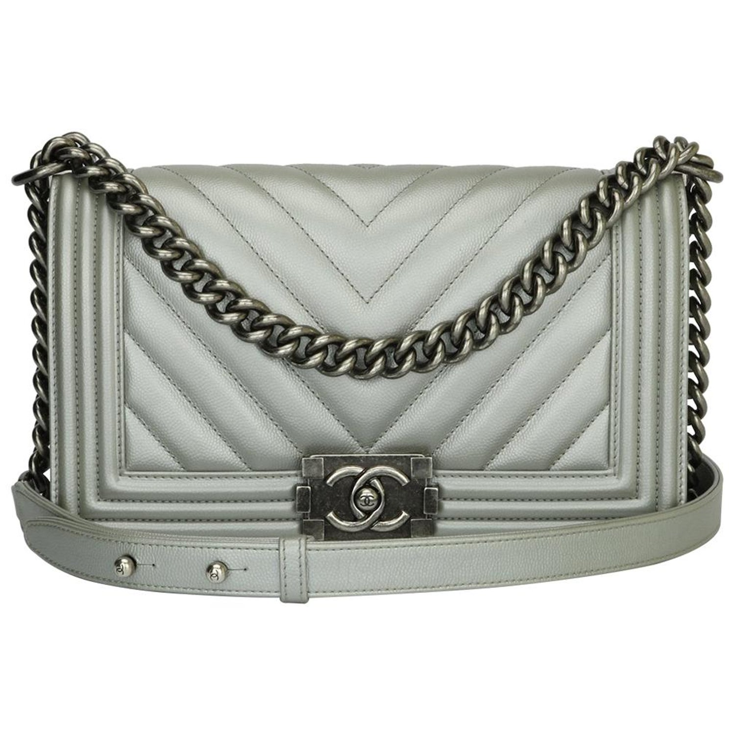 3e2477a45c08fc CHANEL Old Medium Chevron Boy Bag Silver Caviar with Ruthenium Hardware  2016 at 1stdibs