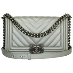 CHANEL Old Medium Chevron Boy Bag Silver Caviar with Ruthenium Hardware 2016
