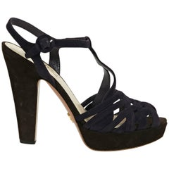 Navy Blue & Black Prada Suede Pumps