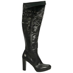 Black Stuart Weitzman Studded Leather Boots