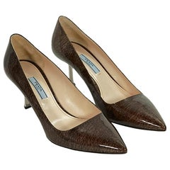 Brown Prada Printed Patent Leather Pumps