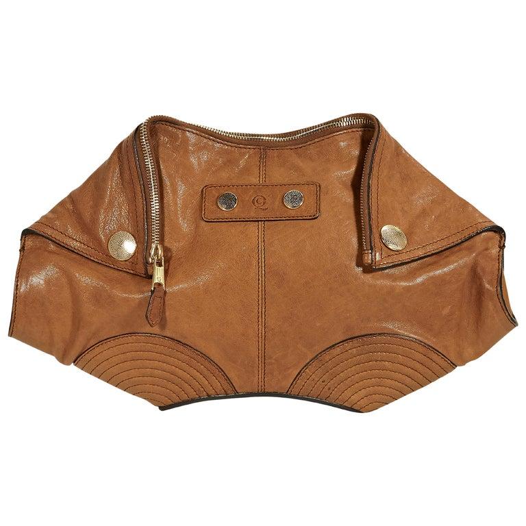 Tan Alexander McQueen Leather De Manta Clutch For Sale