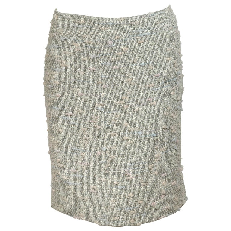 b130e75b067a Chanel Skirt Light Brown Box Pleat Hem No5 Buttons 36 / 4.  HomeFashionClothingSkirts. Multicolor Pastel Chanel Tweed Pencil Skirt For  Sale