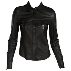 Black Gucci Leather Snap-Front Top