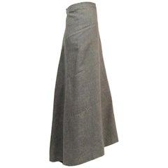 Genny Grey Cashmere Bias Cut Skirt with Train