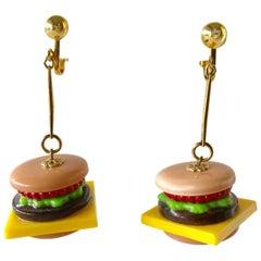 Camp High Fashion Cheeseburger Statement Earrings