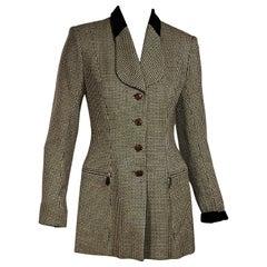 Brown & Cream Vintage Hermes Tweed Blazer