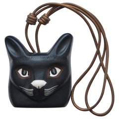 LOEWE Hand Painted Leather Large Cat Necklace   Mint