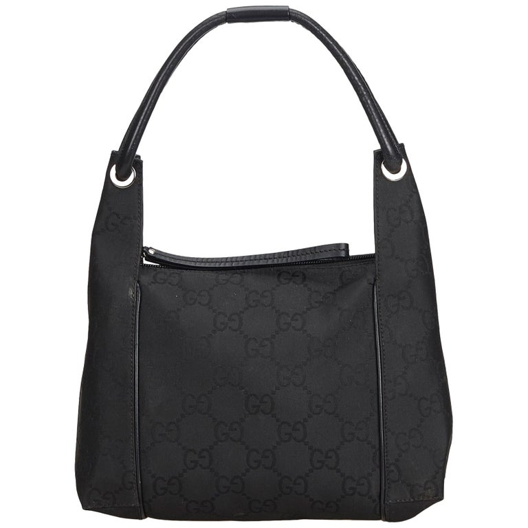 Gucci Black GG Jacquard Handbag For Sale