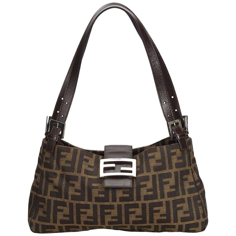 52be73fbea Fendi Brown Zucca Canvas Shoulder Bag at 1stdibs