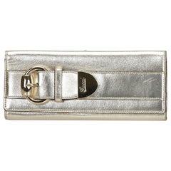 Gucci Gold Metallic Leather Romy Clutch Bag