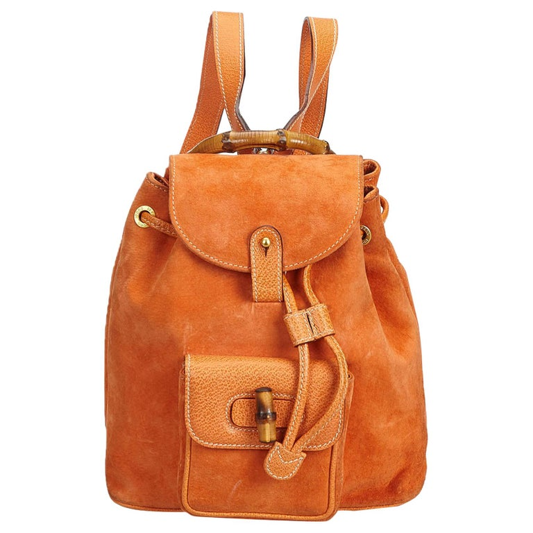 cd67bf2c952 Gucci Orange Bamboo Suede Drawstring Backpack For Sale at 1stdibs