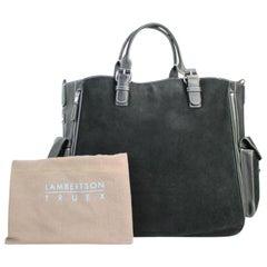 Lambertson Truex Expandable 2way Satchel 60misa13117 Black Suede Leather Tote