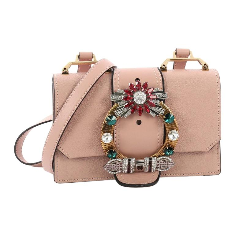 e226009d6838 Miu Miu Madras Crystal Buckle Shoulder Bag Leather Small For Sale at ...