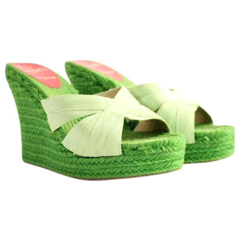 53816a44f100 Christian Louboutin Green Espadrille Sandals 58cla1014 Wedges For Sale