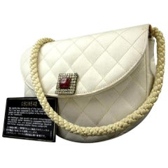Chanel Classic Gripoix Quilted Half Moon Crescent Flap 215653 Ivory Shoulder Bag