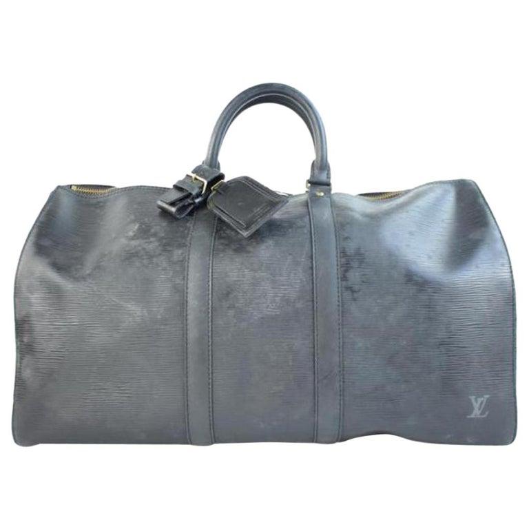 b6f9d0f0cdf7 Louis Vuitton Keepall Noir Epi 45 215552 Black Leather Weekend Travel Bag  For Sale