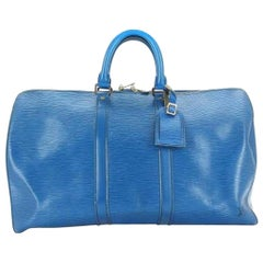 Louis Vuitton Keepall Toledo Epi 45 215340 Blue Leather Weekend/Travel Bag