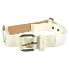 Louis Vuitton White ( Runway ) Leather 215668 Belt