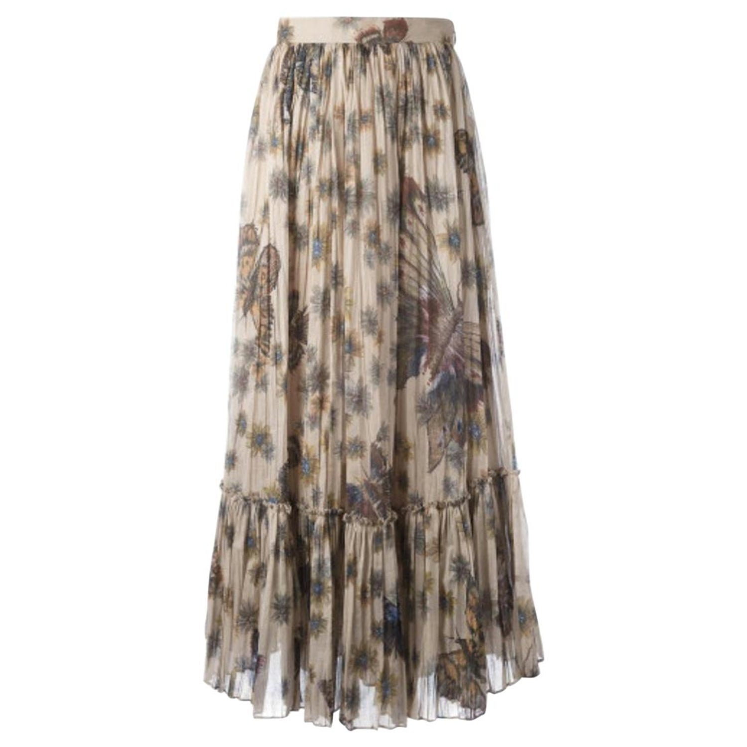 93b3f6cd7f Red Valentino Natural Pleated Tulle Floral Print Midi Dress